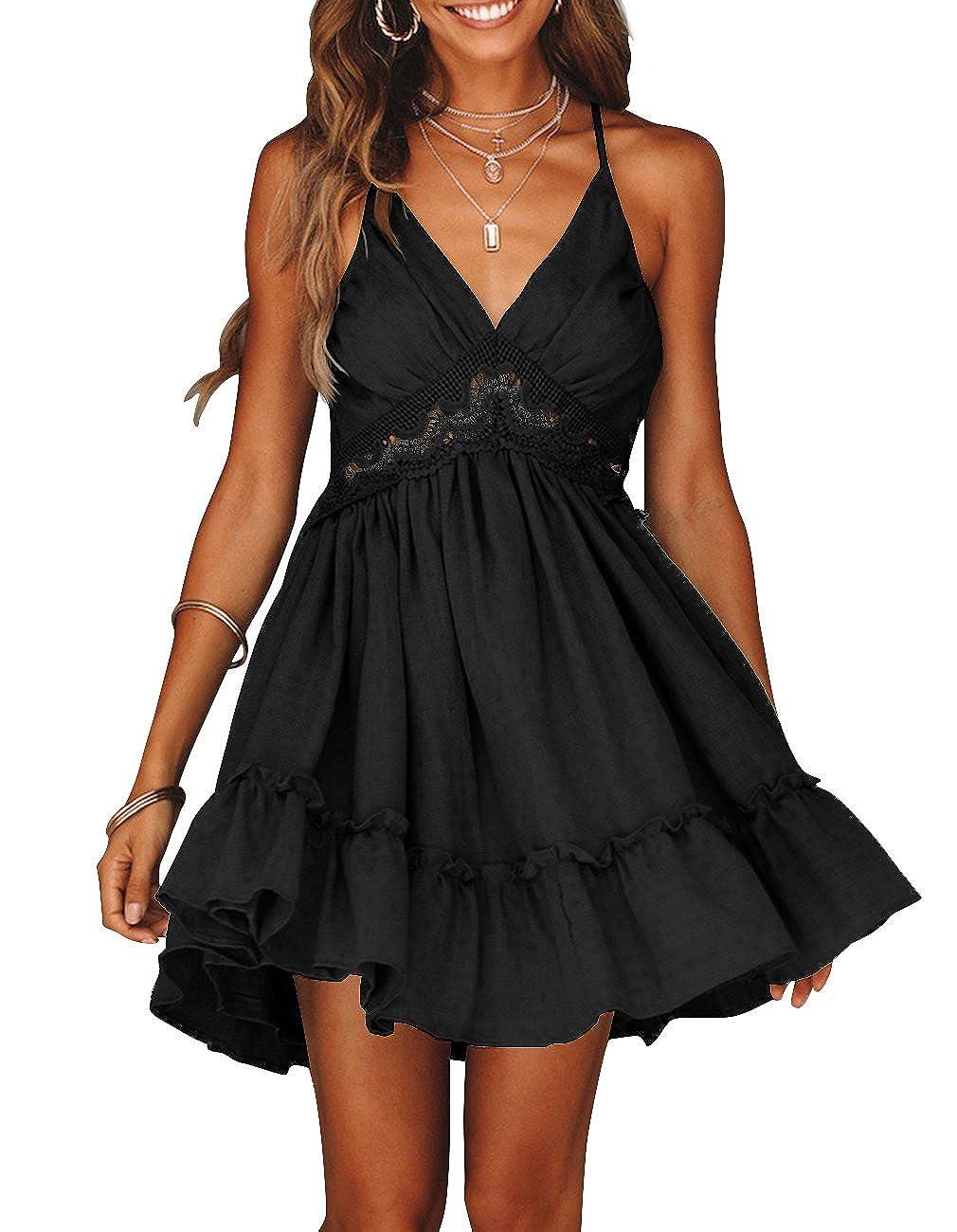 bc54a2abd8f25 Casual Beach Sundress Summer Short Dress Cute Sundresses is perfect for  Petite Womens, Ladies, Juniors, Teen girls. Bohemian halter dress features  Lace ...