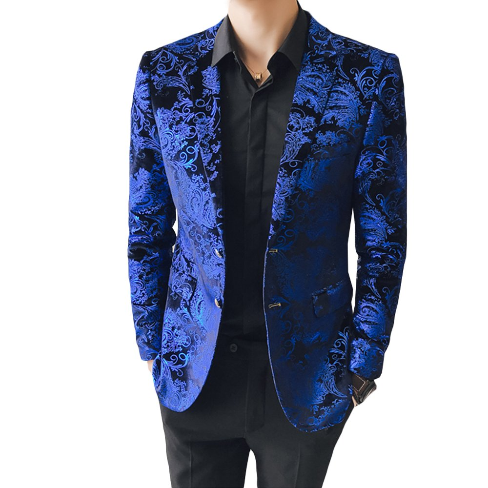 MAGE MALE Men's Dress Party Floral Suit Jacket Notched Lapel Slim Fit Two Button Stylish Blazer, Small, Blue by MAGE MALE