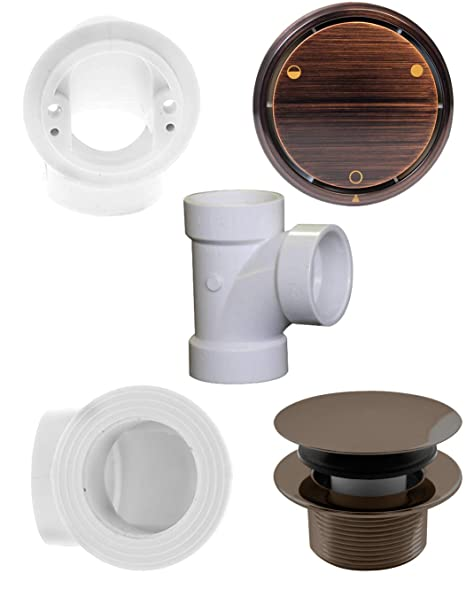Westbrass Deep Soak Closing Overflow Plumbers Pack with Sch. 40 PVC Elbows and Tee, with an ADA aprroved Tip-Toe Drain, Antique Bronze, D593CHPM-12A ...