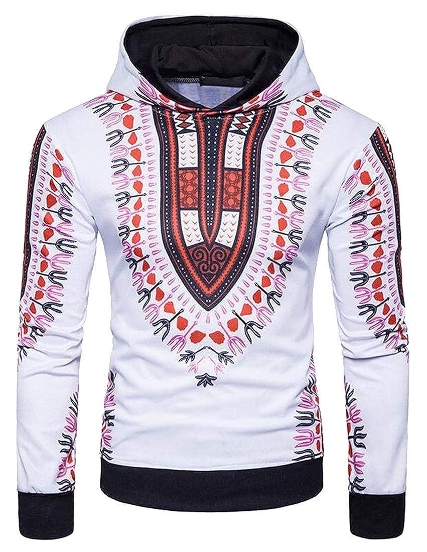 Bravepe Mens Hooded African Print Dashiki Long Sleeve Hoodie Pullover Sweatshirt