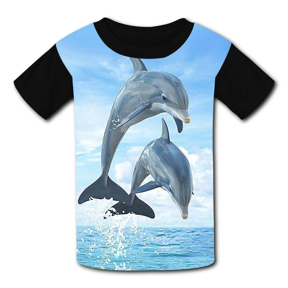 Jumping Dolphin Summer T-Shirt Childrens Fashion Simple and Comfortable