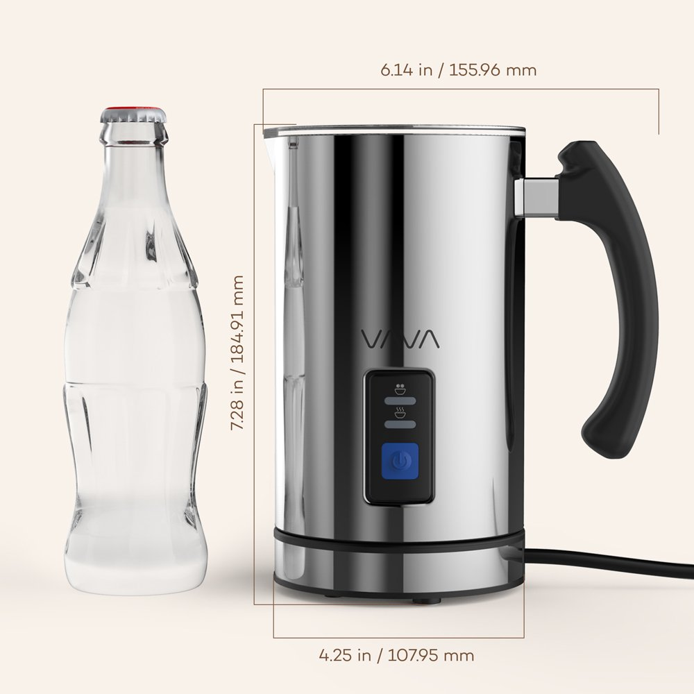 Milk Frother, VAVA Electric Liquid Heater with Hot or Cold Milk Functionality, Stainless steel Electric Milk Steamer (Silent Operation, Extra Whisks) (Renewed) by VAVA (Image #7)