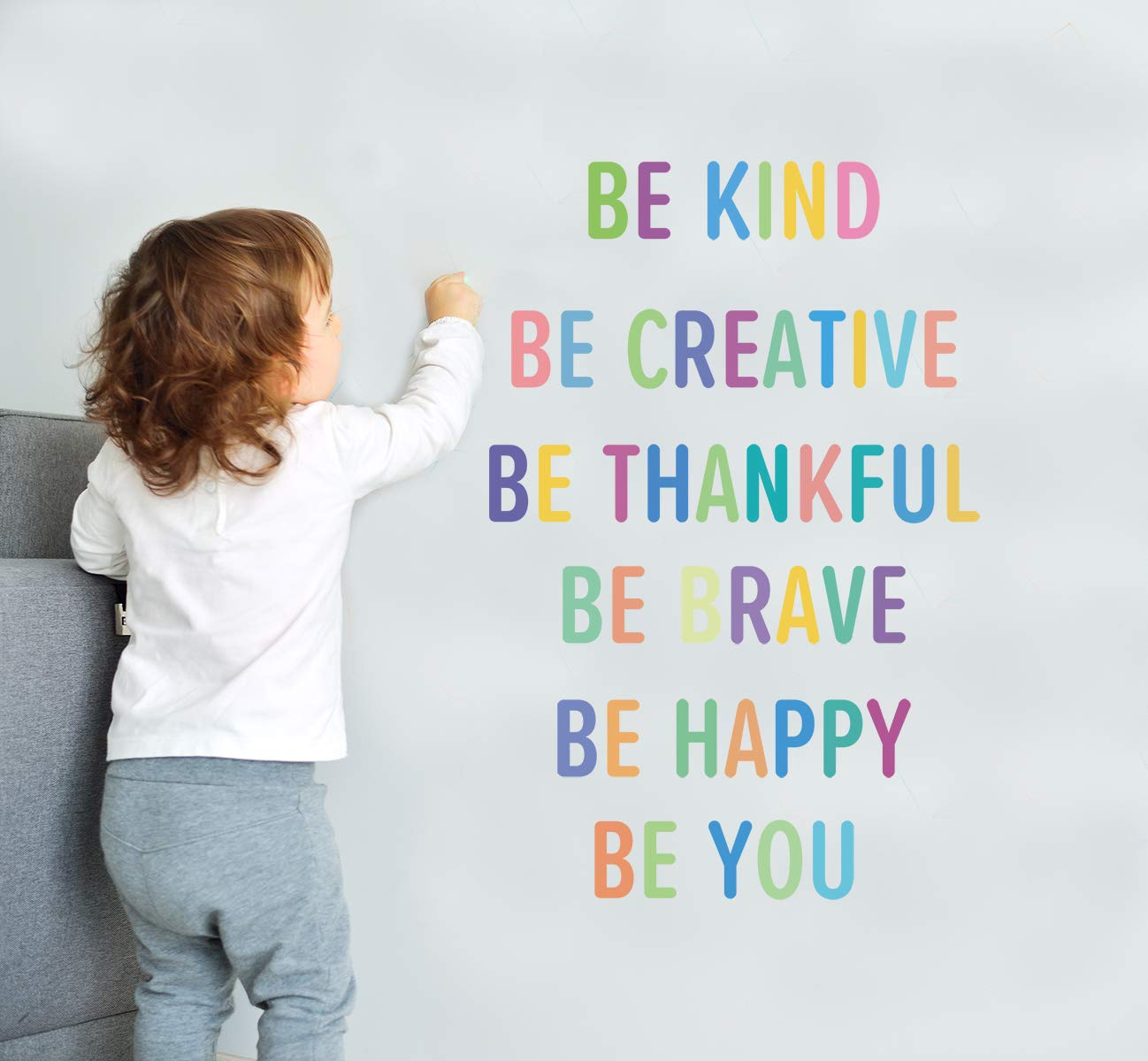 Colorful Inspirational Lettering Quote Wall Decal-Be Brave, Be Creative, Be Kind, Be Thankful, Be Happy, Be You, Positive Quote Sticker for Classroom Kids Decoration