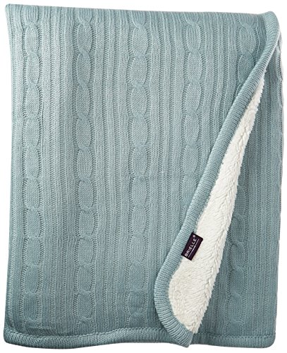 Brielle Cozy Cable Knit Throw with Sherpa Lining, 50