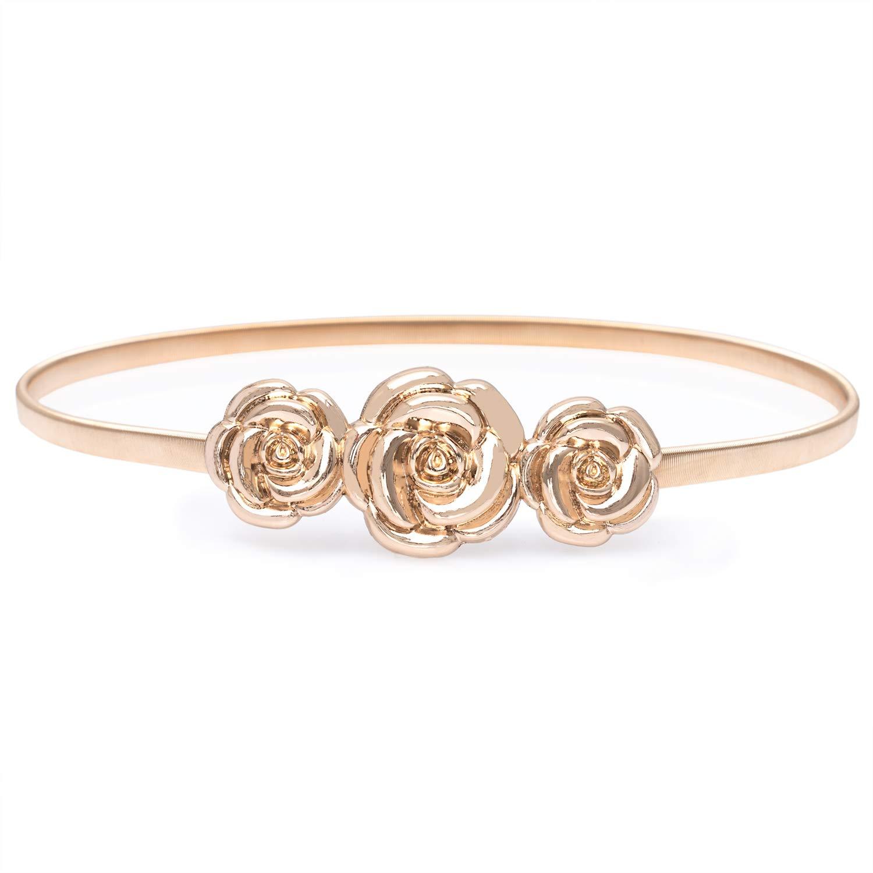 gold Flower HaoPiDai Metal Cinch gold Belts For Women Skinny Waist Mirror Elastic Chain Belt By Designer