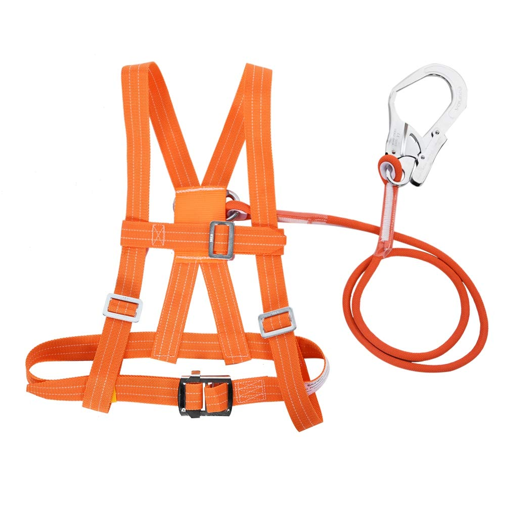 Safety Fall Arrest Harness 6 Stypes Outdoor Adjustable Climb Harness Safety Belt Rescue Rope Aerial Work Full Body Safety Belt Safety Harness Kits Small Buckle 1.6M