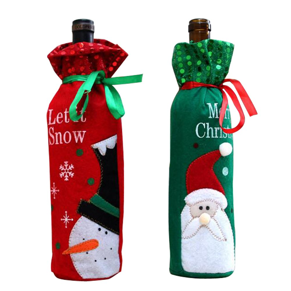 2 Pcs/Set MCHSHOP Snowman and Santa Claus Wine Bottle Cover for Table Decorations, Christmas Wine Bottle Bag Christmas Hostess Decoration Xmas Gift