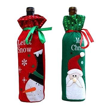 2 pcs/Set MCHSHOP de muñeco de nieve y Papá Noel para botella de vino