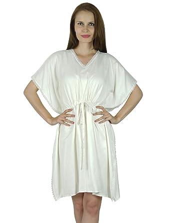 952ed3aa07 Bimba Women Short White Rayon Kaftan Slight Sheer Coverup Caftan:  Amazon.co.uk: Clothing