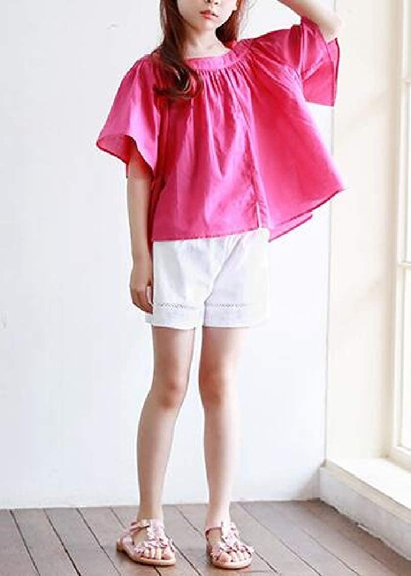 Lutratocro Girl Sport Loose Cotton Cute Solid Color Elastic Waist Short