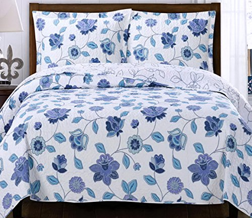 Country Cottage Coverlet Quilt Shams Set Double Full/Queen Purple Blue Lavender Floral Print Pattern Lightweight Hypoallergic Wrinkle Free Reversible 3 Piece Bedding Oversized