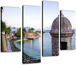 Canvas Wall Art Painting Pictures Turret Along Old san Juan Wall in Puerto rico Puerto ricos and Pictures Modern Artwork Framed Posters for Living Room Ready to Hang Home Decor 4PANEL