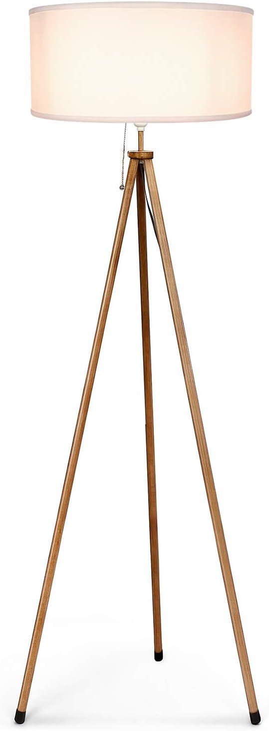 Albrillo Lámpara de Pie Clásica - Lámpara de Pie Trípode Moderna con Grano de Madera, Pantalla Blanca y Bombilla máx.60W, Lámpara de Pie Metálica de E27, 156 cm para Salón Dormitorio Oficina