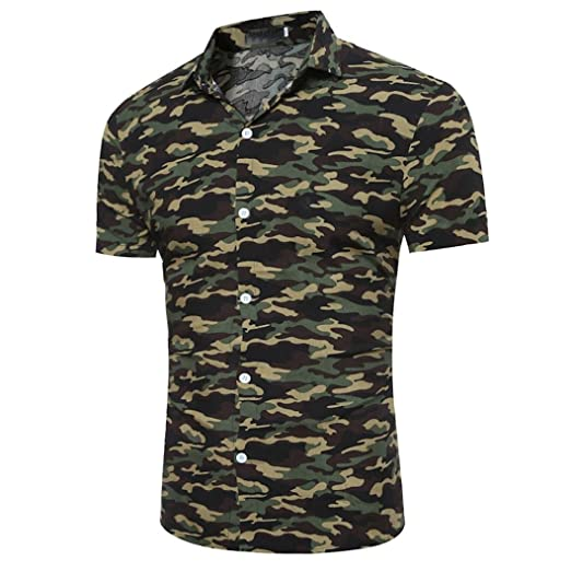 955bd5a083d7d Allywit Men T-Shirt, Men's Polo Shirt Turn-Down Collar Camouflage Print T
