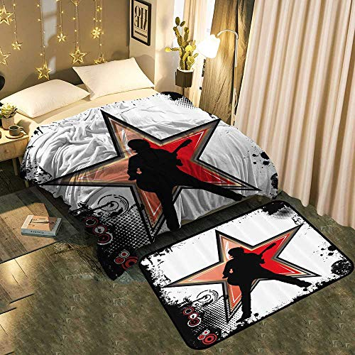 LOUTAN Warm Blanket and Floor mat Guitar Player Star Abstract Monochrome Splashes Half ne Frame Comfortable Home Decor Blanket 70