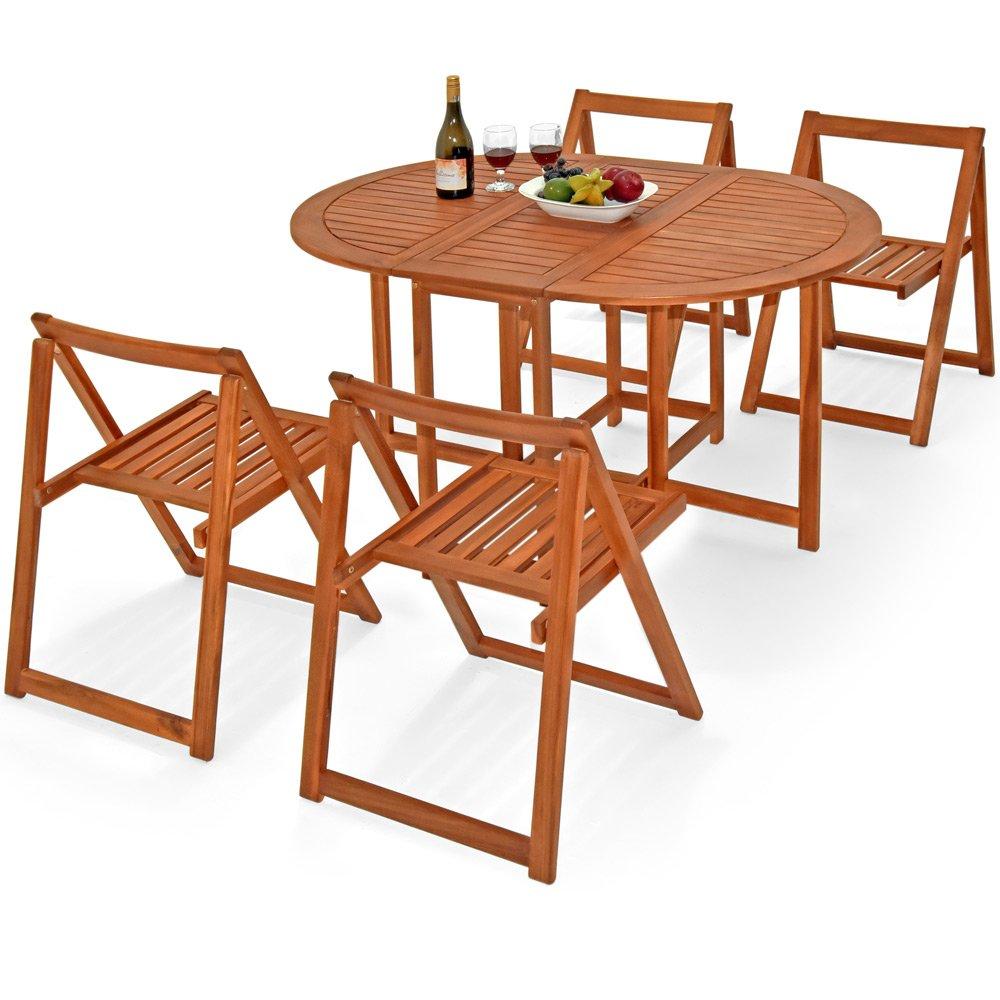 5 tlg. Balkonset aus Akazienholz mit verschiedenen Aufstellmöglichkeiten Sitzgruppe Sitzgarnitur