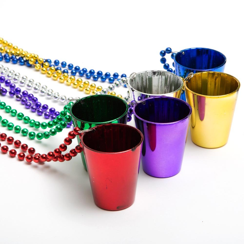 Mardi Gras Shot Glass Beads 1 Dozen