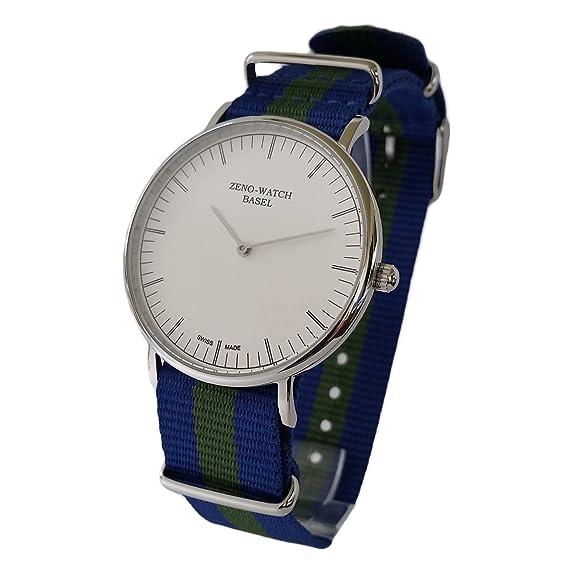 Reloj Suiza Zeno, cristal, zafiro), correa NATO nylon azul y verde: Amazon.es: Relojes