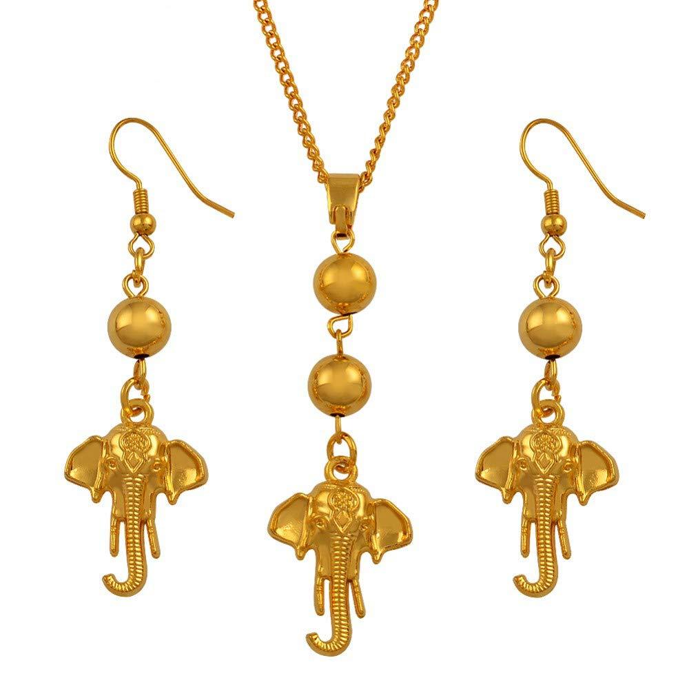 Elephant Pendant Necklace Earrings Jewelry Sets Ball Beads Indian Mascot Thai Elephantidae Symbol African 50cm