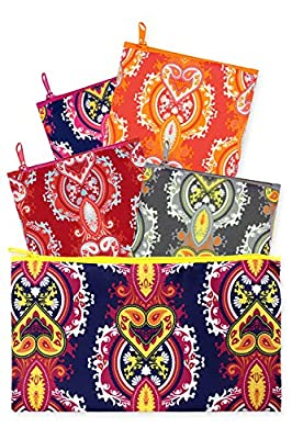 LOQI Opulent Collection Pouch Reusable Bags (Set of 4), Multicolor
