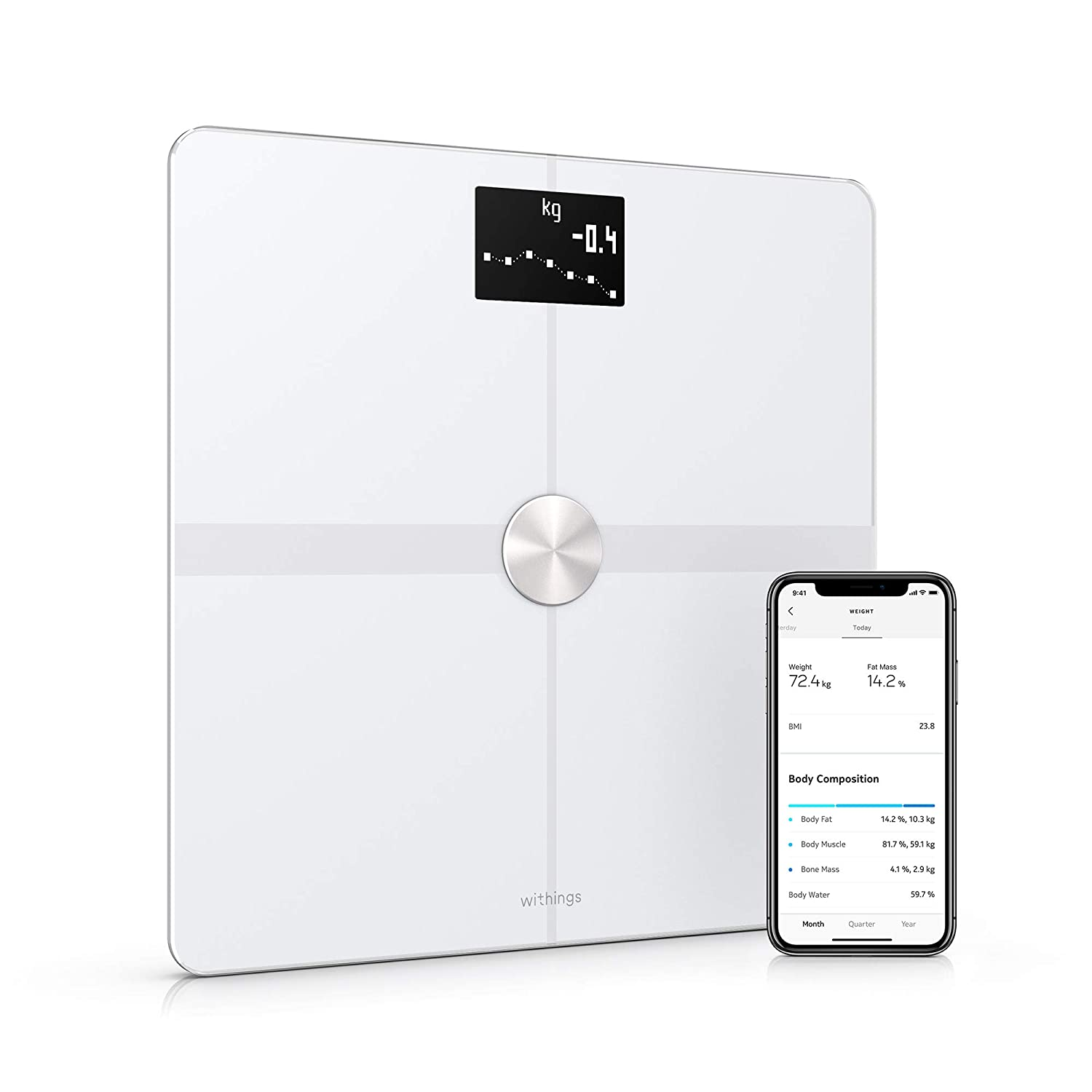 Withings | Body+ - Smart Body Composition Wi-Fi Digital Scale with  smartphone app, White