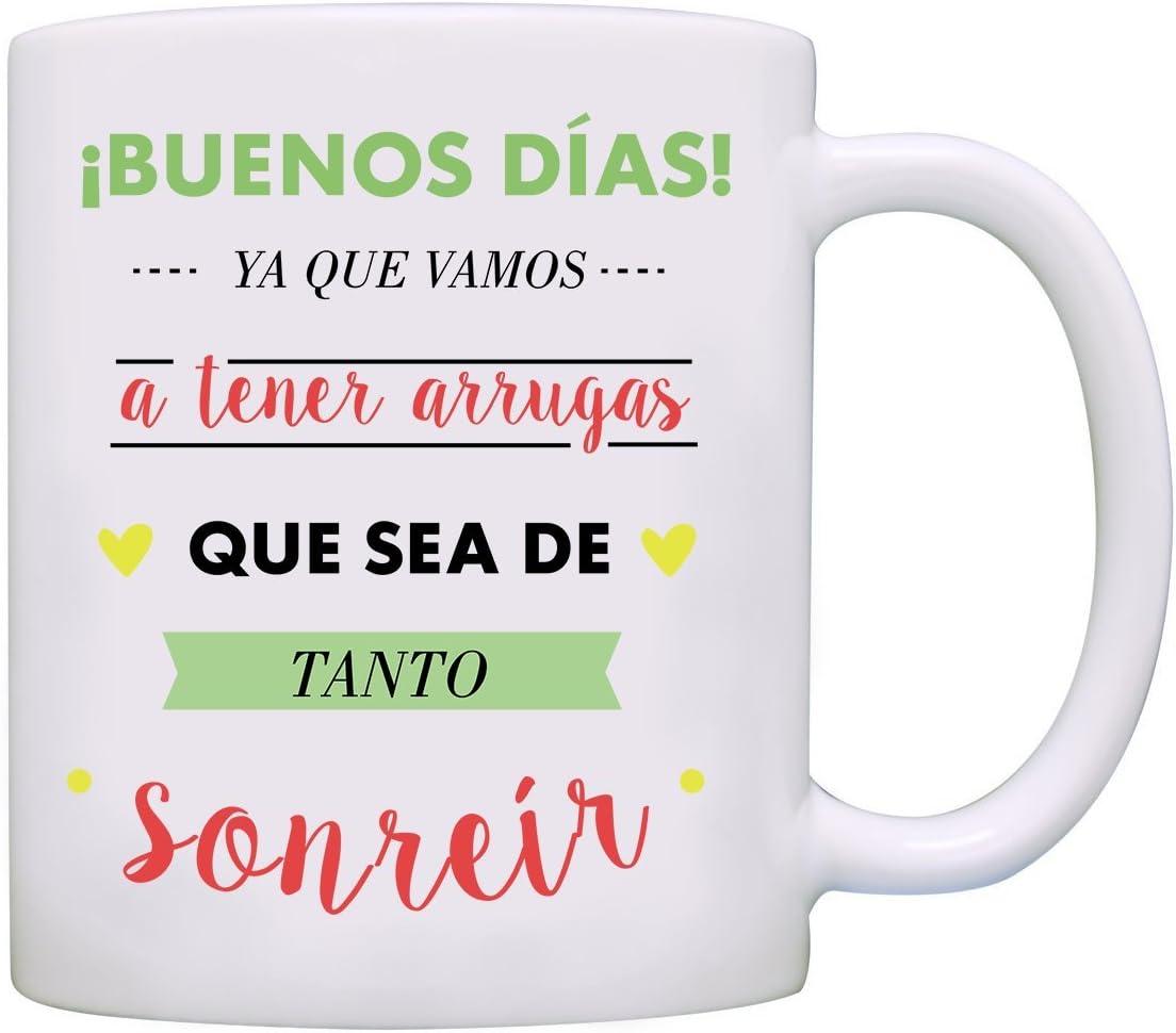 MUGFFINS Taza Original - ¡Buenos días! Ya Que Vamos a Tener Arrugas Que Sea de Tanto sonreir - 350 ml - Tazas con Frases motivacionales