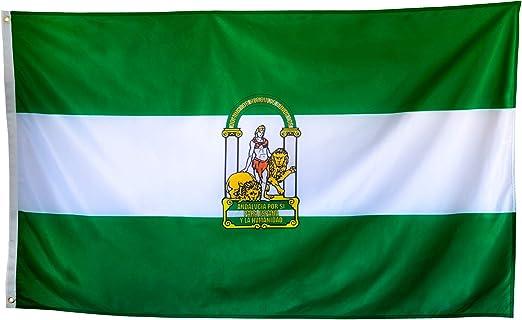 esvendio Bandera de Andalucía Grande de Tela Fuerte, Bandera Andaluza para Exterior 150x90 cm: Amazon.es: Jardín