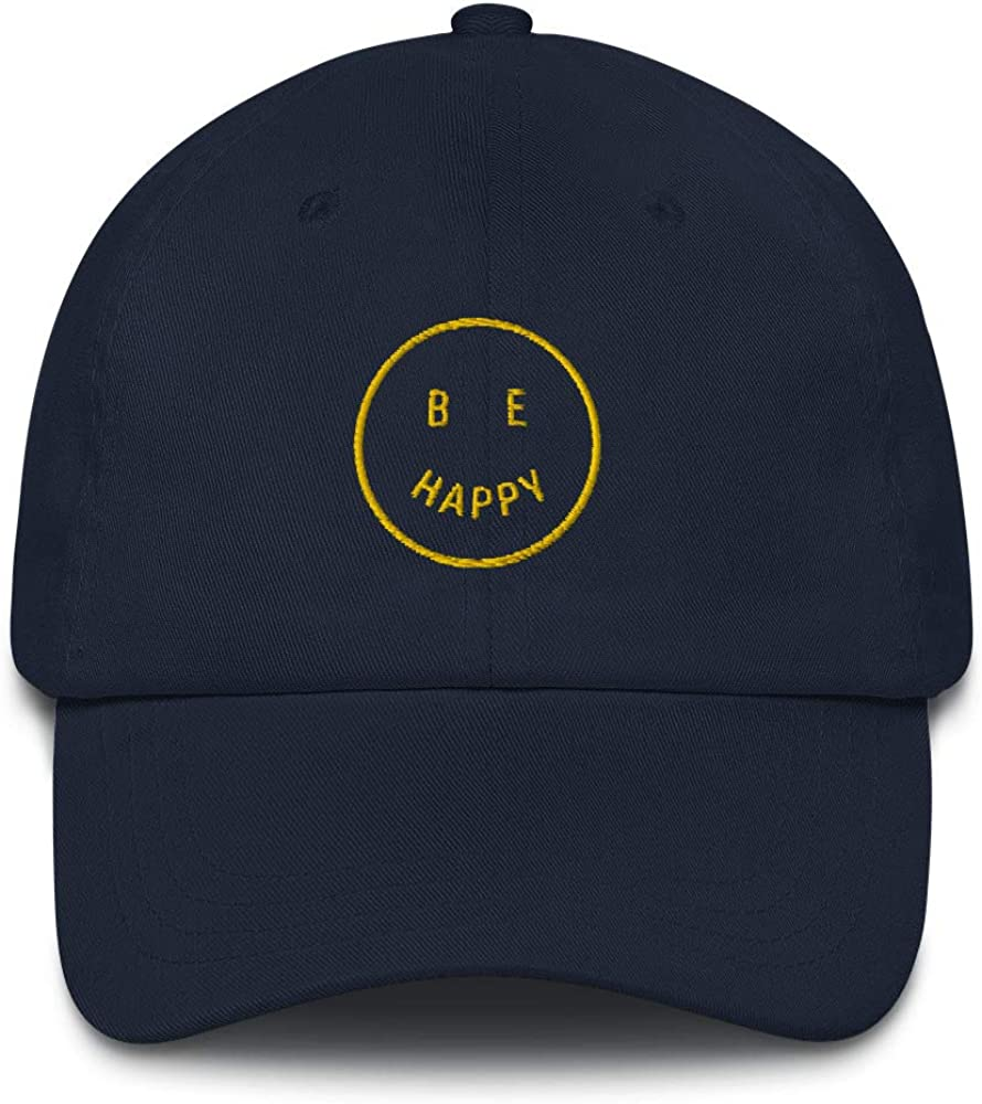 Be Happy Emoji 3D Puff Embroidered Dad hat