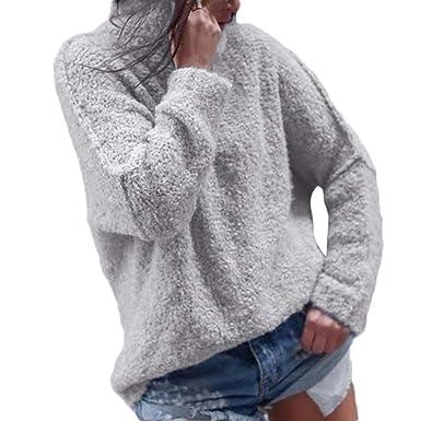 bfd39d8c0b23 Femmes 2018 EUZeo Automne Hiver Femmes Mode Décontractée L automne Manche  Longue Plus Chaud Peluche Col roulé T-Shirts Tops Chemisier  Amazon.fr   Vêtements ...