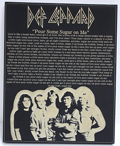 Def Leppard Leatherette plaque laser etched with lyrics and image. FREE domestic shipping. - Allen Leppard Def Rick