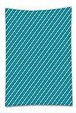 Nalahome Fleece Throw Blanket Geometric Diagonal Striped Pattern Mediterranean Cruise Colors Ocean Travel Adventure Light Blue Teal