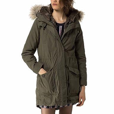 Tommy Hilfiger Denim Women s Convertible Fur-Lined Hooded Parka (Green,  Medium) 45d981c3ef