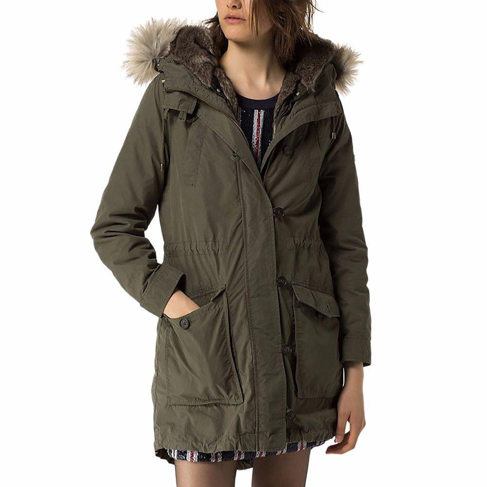 Tommy Hilfiger Denim Women's Convertible Fur-Lined Hooded Parka (Green, Medium)