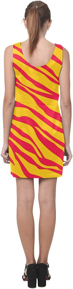 D-Story Dress Orange Zebra Stripes Sleeveless Dress Womens Vest Dress