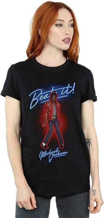 Absolute Cult Michael Jackson Mujer Beat It Smoke Camiseta del Novio Fit: Amazon.es: Ropa y accesorios