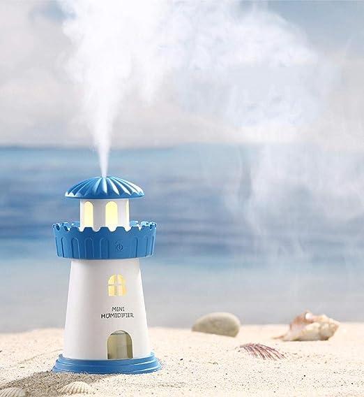 TaoRan Mini humidificador USB Faro Azul luz Nocturna de ensueño purificador de Aire Estilo mediterráneo-Azul: Amazon.es: Hogar