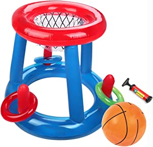 SubClap Floating Pool Basketball Hoop -Pool Toys for Kids Inflatable Blow Up Ball Summer Swimming Water Sports Game Toy with Hand Pump for Children & Adult