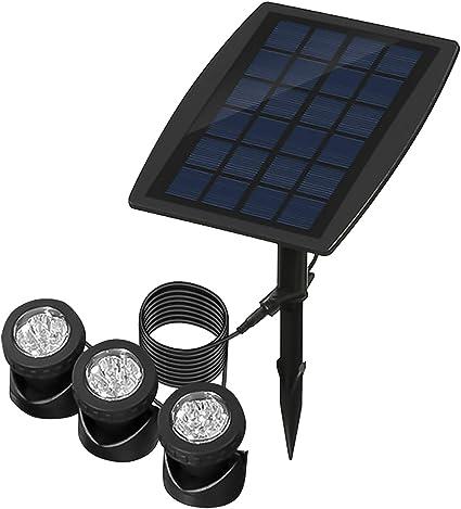 ALLOMN Luces Solares Para Estanques, Proyectores Sumergibles para Exteriores Luces Subacuáticas Ajustables Cambio de Color RGB, Cuatro Modos de luz, Impermeable IP68, Encendido/Apagado Automático