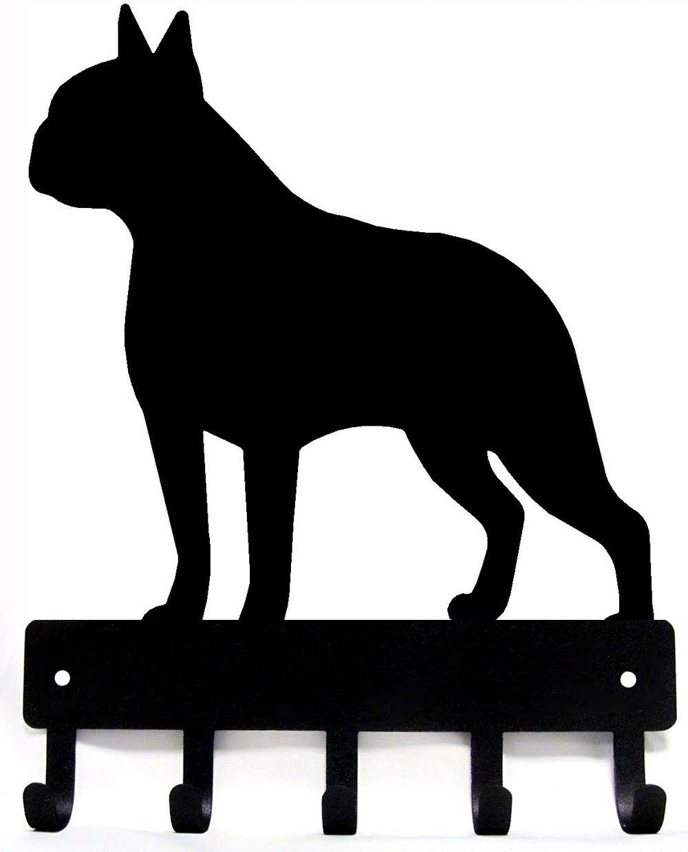 The Metal Peddler Boston Terrier Key Rack Dog Leash Hanger - Large 9 inch wide