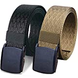 WYuZe 2 Pack Nylon Belt Outdoor Military Web Belt 1.5' Men Tactical Webbing Belt (waist-below 32', black + coyote tan)