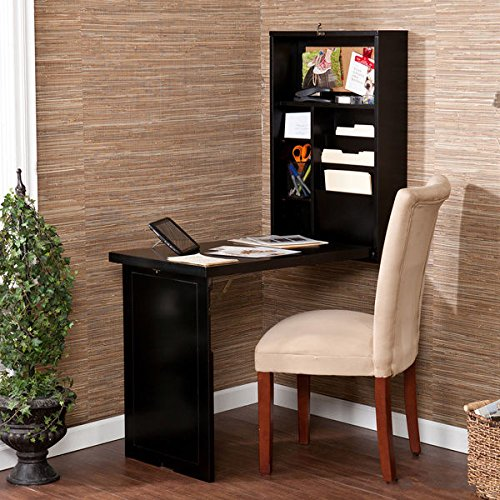 Upton Home Murphy Desk:  Black Walnut Finish Adjustable Fold-out Convertible Writing Desk