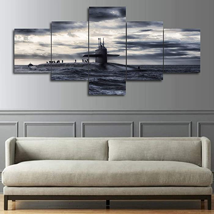Art Work for Home Walls Black and white Pictures Military Submarine and Soldier Wall Art Multi Panel Canvas Paintings for Living Room House Decor Frame Ready to Hang Posters and Prints(50''Wx24''H)