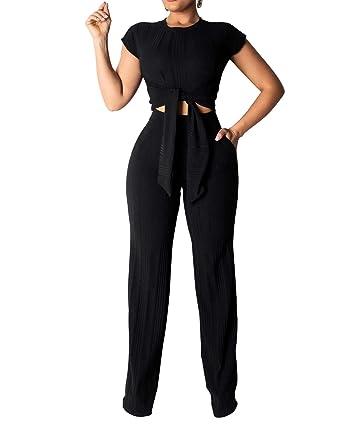 72c5e559b8cd Amazon.com  Women 2 Piece Outfits Jumpsuits Short Sleeve Crop Tops Wide Leg  Pants Set Rompers Party Clubwear  Clothing