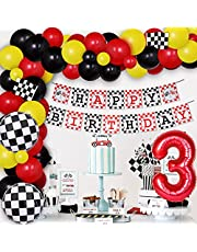 Race Car 3rd Birthday Party Decorations for Boys - Racing Car Balloon Garland Arch Kit Checkered Flags Happy Birthday Banner for three year old, Let's Go Racing Party Supplies