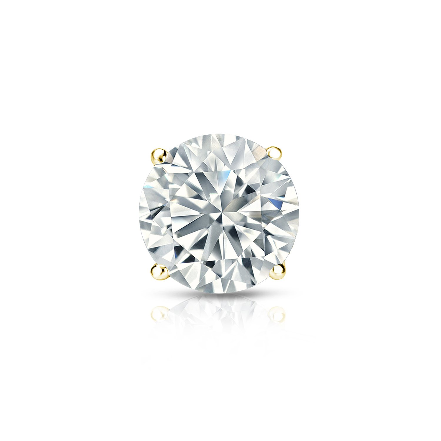 Push-Back 1//8-1 ct, O. White, I2-I3 18k Yellow Gold 4-Prong Basket Round Diamond SINGLE STUD Earring