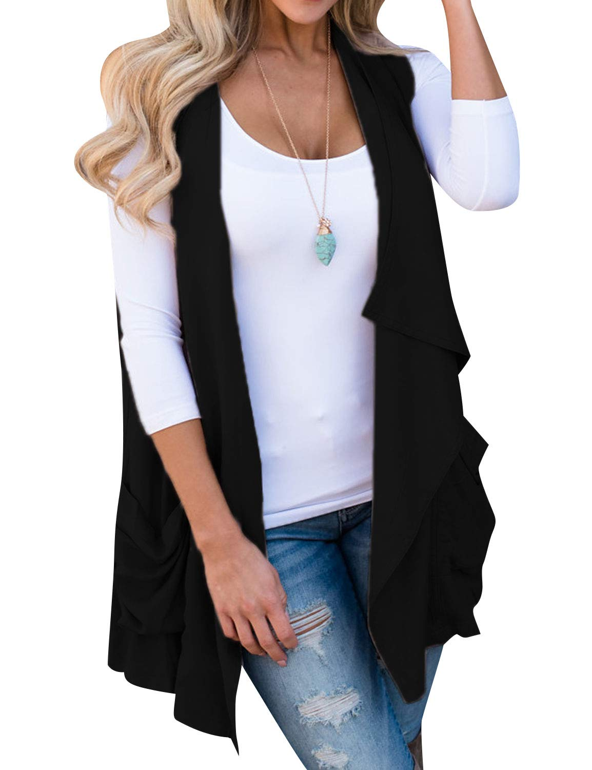 Ezcosplay Women Sleeveless Solid Color Asymmetric Cardigan Outwear with Pocket