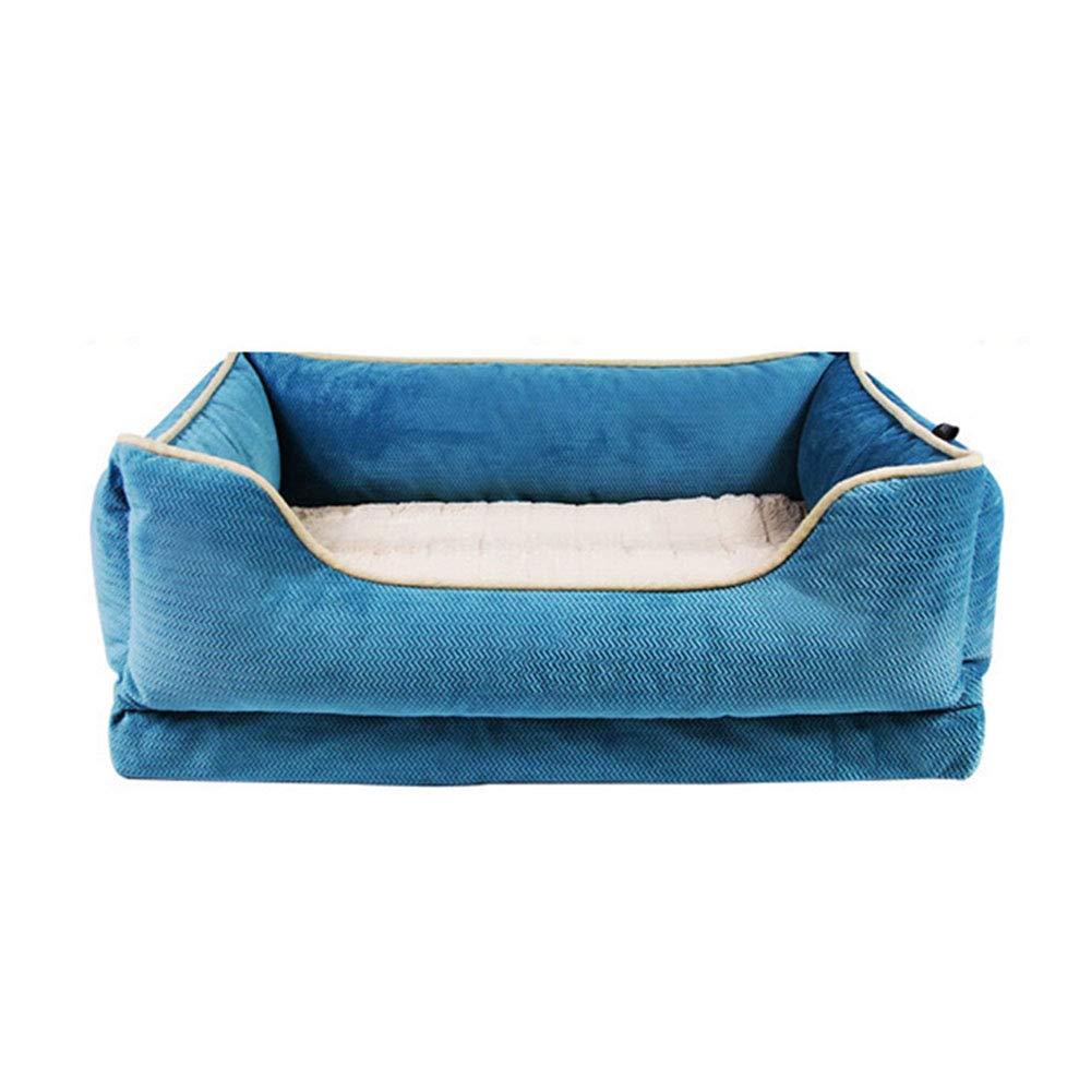 bluee Large bluee Large Pet nest Solid color short plush PP cotton mattress Suitable for dogs, cats, etc. Pet nest (color   bluee, Size   L)