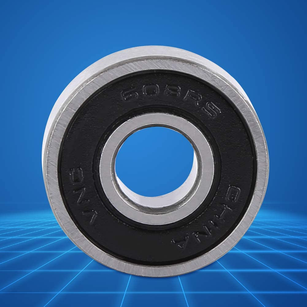 nosii 10PCS 608-2RS Ball Bearing Dual Sided Black Rubber Sealed Deep Groove