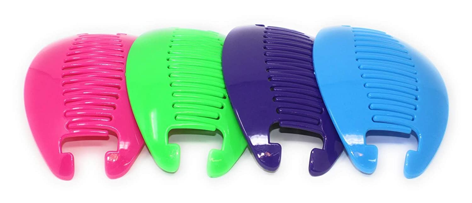 4 set Banana Interlocking Jumbo Comb Clip Thick Hair Riser Claw .