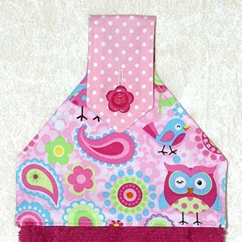 1 Hanging Hand Towel - Cheerful Paisley Owls and Birds With Raspberry Plush Towel (Dish Cotton Paisley)